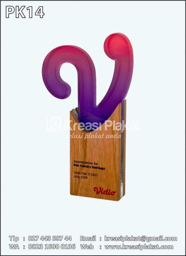Plakat Kayu Penghargaan Vidio Custom Plakat